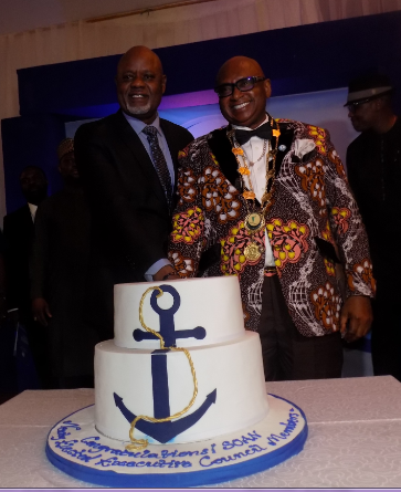 The new SOAN President, Dr Onyung Mcgeorge and the immediate past president, Engr Greg OOgbeifun cutting the inaugural cake