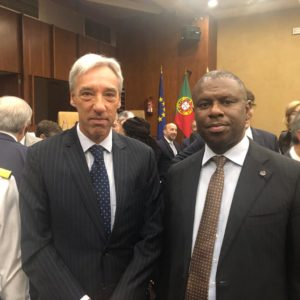 DG NIMASA with Portugal Minister Of Defence Joao Titterington Cravinho at a seminar hosted in Lisbon where Dr Peterside was keynote speaker on Maritime security in the Gulf of Guinea