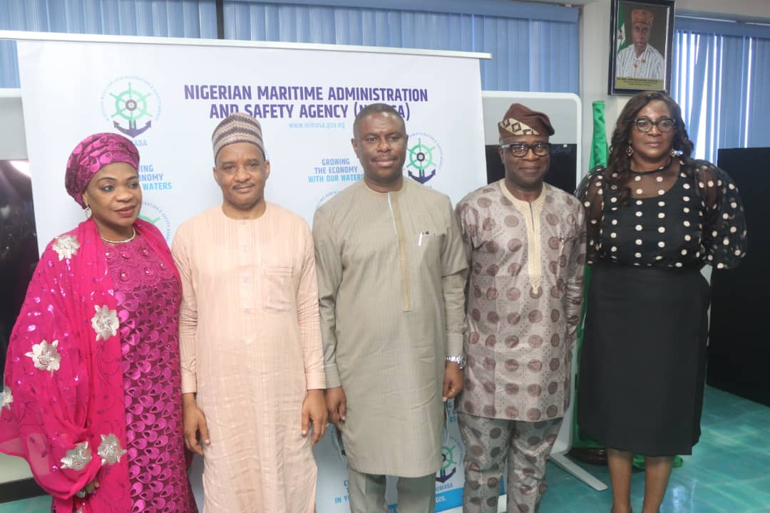 Director-General, Nigerian Maritime Administration and Safety Agency (NIMASA), Dr. Dakuku Peterside (middle); flanked by Executive Director, Operations, Engr. Rotimi Fashakin (second right); Executive Director, Finance and Administration, Dr. Bashir Jamoh (second left), Director, Admin and Human Resources, Hajia Aisha Musa (left), and Director, Special Duties, Reform Coordination and Technical Cooperation, Mrs. Rita Uruakpa (right), at a recent press conference ahead of NIMASA's Corporate Dinner and Awards ceremony.